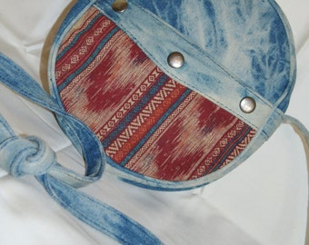 Blue Jeans Circle Purse Vintage Boho Hippie Back to School gifts for her