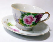 """Vintage Handpainted """"Gold China"""" Teacup and Saucer, Made in Occupied Japan"""