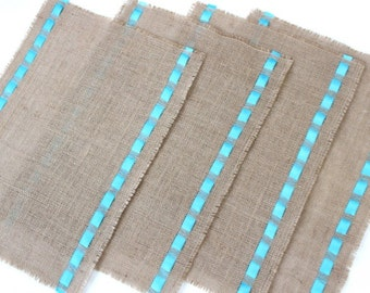 Burlap Table Mats - Natural Burlap Placemats with Satin Ribbons - Rustic Chic Dining & Entertainment