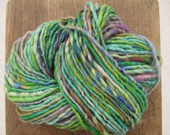 Handspun art yarn GARDEN PARTY 97 yards Free U.S. Shipping green, yellow, purple, pink, orange, salmon, lime, and blue