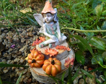 Autumn Fairy Ensemble fairy with Pumpkins and Leaves Miniature Pumpkins and Fairy