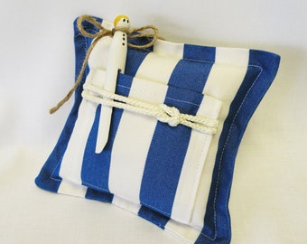 Nautical Blue and White Stripe Tooth Fairy Pillow and Clothespin Tooth Fairy Doll or Gift Card Holder - Coastal, Beach Bedding