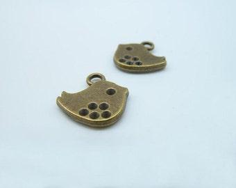20pcs 2x15x16mm Antique Bronze Mini Heavy Bird Charm Pendant c2190
