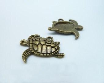20pcs 18x21mm Antique Bronze Lovely  Sea Turtle Tortoise Charm Pendant C1182
