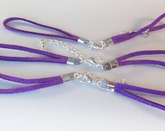Purple Faux Suede Bracelet Components - 25 sets
