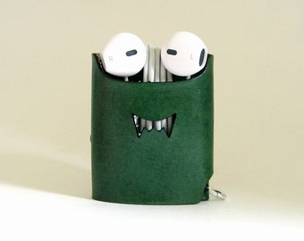 Smiling Monster Earphone Case - Green - The Case with a Face - Leather Earphone Case / Earpod Case / Earphone Wrap / Earbud Organizer