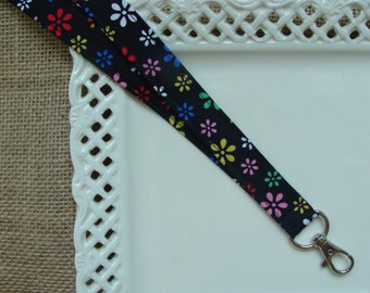 Fabric Lanyard - Bright Flowers on Black