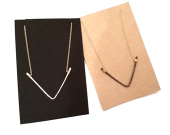 NEW || Triangle V Necklace, Gold, Black, Silver