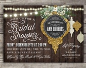 Rustic Christmas Bridal shower invitation--customizable