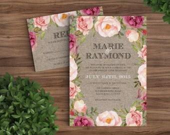 Rustic Bohemian Floral Wedding Invitation - Printed Florals Invite Garden, Watercolor, Vintage, Maroon Pink Kraft Brown Summer Modern (1094)