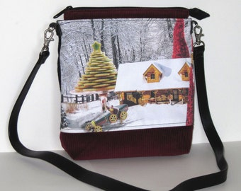 Black Recycled Purse featuring winter cottage collage with dark red