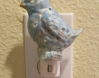 Bird Nightlight Vintage Bird Ceramic Aqua Home Decor Birthday Gift Housewarming gift