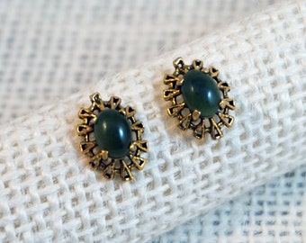 Spinach Jade and 14K Gold Earrings Modernist Brutalist Style