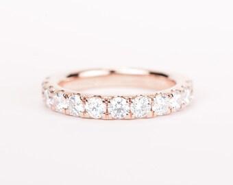 CERTIFIED - E-F, VVS - VS, 1.2 ct Diamond Wedding Band 14K Rose Gold