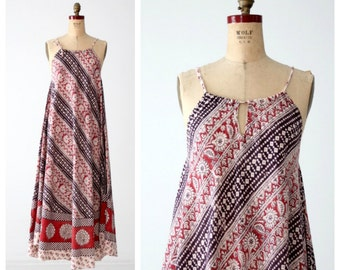 vintage 70s India cotton dress, boho print sundress