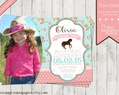 Pony Party - A Customizable Photo Birthday Party Invitation - Light Blue and Pink with Burlap, lace, polka dots, Cowgirl Western Pony Party