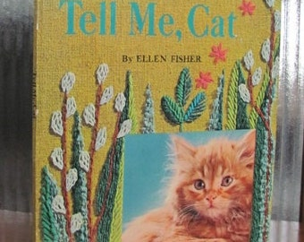 "Vintage ""Tell Me, Cat"" - 1965 - Whitman Giant Tell-a-Tale Book - Children's Picture Book - Cats - 60's Children's Book"