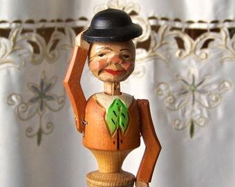 Vintage Anri Hand Carved Animated Bottle Stopper Hat Tipping Gentleman Bottle Stopper Man Cave Vintage 1950s