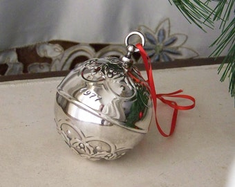 Vintage Holly Ball Ornament Reed and Barton 1977 Silver Plate Christmas Ornament In Original Box Silver Ball Holiday Decor