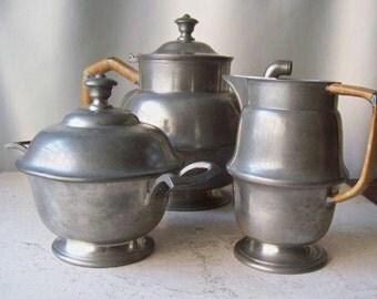 Vintage Pewter Tea Set  H. Menna Nürnberg Fein Zinn Vintage ca. 1950