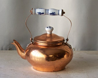 Vintage Copper Teapot Decorative Delf Handles and Cap Tops Small Teakettle Blue and White Ceramic Accents 1970s