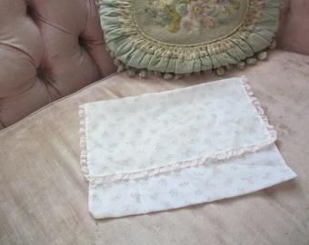 Sheer White Pink Rosette Rose Buds Lace Trim Hanky Delicates Linen Holder E14