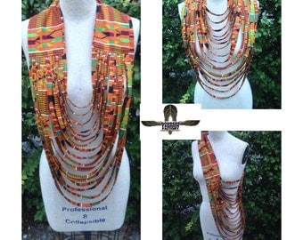 Traditional Kente Multi Strand African Print Tribal Fabric Goddess Necklace Made to Order