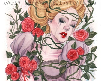 Sleeping Beauty Fairy Tale Red Rose watercolor art print Carla Wyzgala carlations