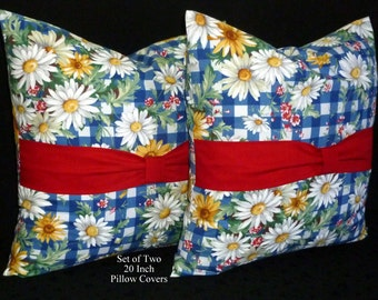 Pillows,Throw Pillows, Pillow Covers, Decorative Pillows, Accent Pillows, Cushion Covers -  Set of Two 20 Inch - Blue and White Daisy Floral
