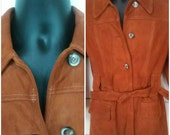 Suede jacket vintage 70s trench wide collar