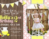 Lemonade Party Invitation Birthday Printable Bunting Pink Lemonade lemons sweet dots Photo invitation