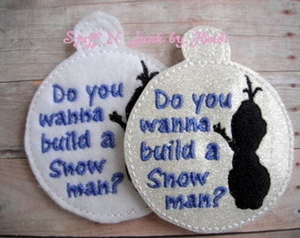 Snowman Silhouette Embroidered Ornament, Build A Snowman Ornament