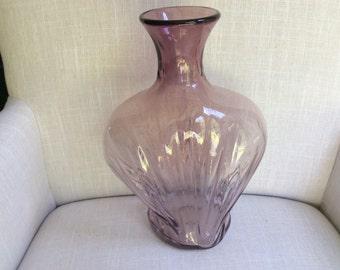 Large Pink Blown Glass Vase