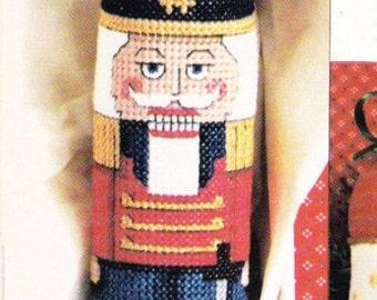 Vintage Cross Stitch Patterns * NUTCRACKER CHRISTMAS ORNAMENT Wine or Bottle Gift Bag - Cross Stitch & Country Crafts Magazine November 1987
