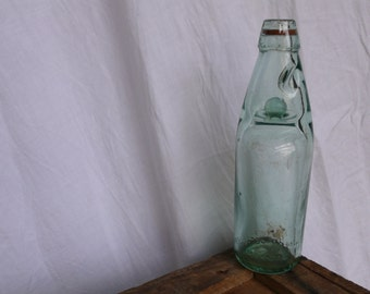 Green Glass bottle, Codd's marble stopper, Antique Home Vase, Vintage Wedding Bottle, Unique Table decoration, French Green Kitchen