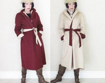 Vintage Aigner Reversible Raincoat - 1960s Etienne Aigner Rain Coat - Cordovan & Khaki