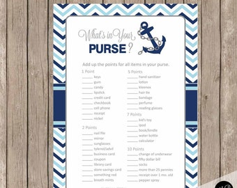 Chevron nautical what's in your purse game, nautical what's in your purse, baby shower game, blue and navy baby shower activity,  nbn1