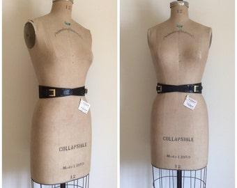 Vintage Valentino Couture Boutique Belt Double Gold Buckle Black Leather