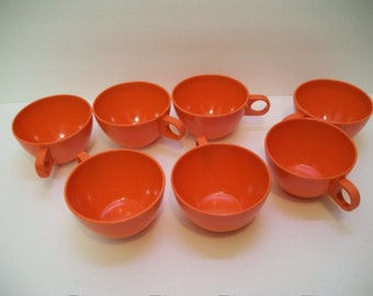 Vintage melamine set of 7 Coffee Cups, Tea Cups Camping Gear, Entertaining , 70s Orange Melamine Coffee Cups
