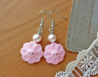 Light Pink Flower Earrings, Upcycled Button Earrings