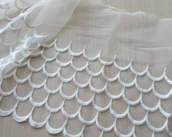 Cream White Lace Trim Cotton Wave Embroidered Tulle Lace Trims 9.44 Inches Wide 1 yard