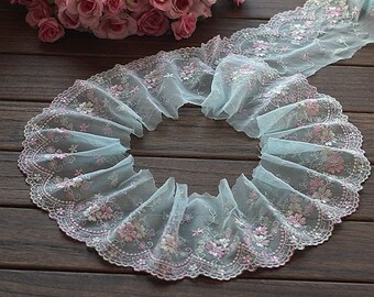2 Yards Lace Trim Cyan Floral Embroidered Tulle Lace Trim 3.93 Inches Wide High Quality