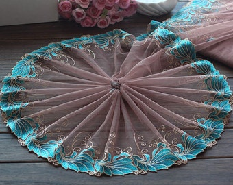 2 Yards Lace Trim Cyan Floral Embroidered Coffee Tulle Lace Trim 7 Inches Wide High Quality