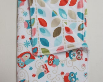 Coral and Turquoise owls on soft minky blanket