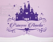 Princess castle name decal - Personalized name decal - Princess decal - baby nursery wall decal -  vinyl wall decal
