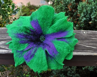 Felt flower, brooch, flower, black, purple, green, beads