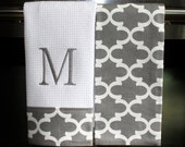 Monogram Kitchen Towels or Hand Towels in Grey / White Quatrefoil