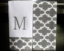 Monogram Kitchen Towels or Hand Towels in Grey / White Quatrefoil