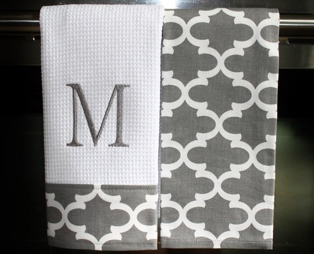 monogrammed kitchen towels or hand towels in grey quatrefoil. Black Bedroom Furniture Sets. Home Design Ideas