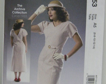 1933 Retro Style Day Dress Pattern, Uncut, Archive Collection Mc Calls 7153, Day Dress Pattern, Women's SZ 6 through 14